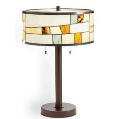 Two Light Shadow Bronze Table Lamp