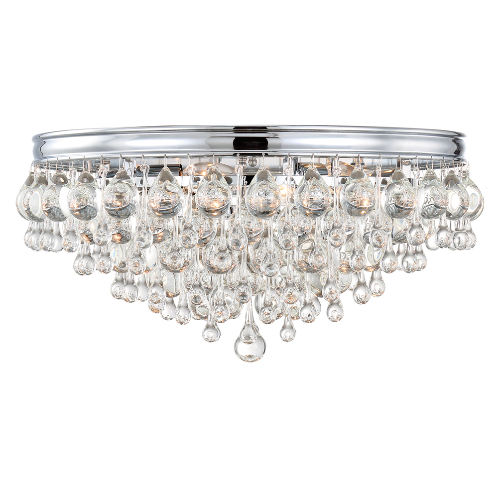 6 light polished chrome transitional ceiling mount draped in clear glass drops