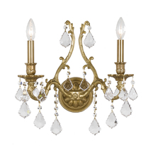 Crystorama 5142-AG-CL-MWP - Crystorama Yorkshire 2 Light Clear Crystal Brass Sconce