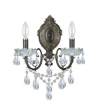 Crystorama 5192-EB-CL-I - Crystorama Legacy 2 Light Clear Italian Crystal Bronze Sconce