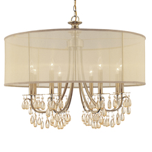 Crystorama 5628-AB - Crystorama Hampton 8 Light Drum Shade Brass Chandelier