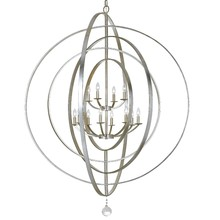 Crystorama 590-SA - Crystorama Luna 12 Light Antique Silver Sphere Chandelier