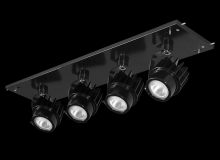 RAB Lighting MDLED4X12D10-30YN-B - MULTI 4X12W LED 35K 30DEG BLK GEAR TRAY BLK HEAD 0-10V DIM