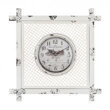 Sterling Industries 171-013 - Vintage Style Clock In Square Mesh Frame