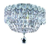 Elegant V1900F10C/RC - 1900 Century Collection Flush Mount D:10in H:9in Lt:3 Chrome Finish (Royal Cut Crystals)