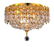 Elegant V1900F10G/RC - 1900 Century Collection Flush Mount D:10in H:9in Lt:3 Gold Finish (Royal Cut Crystals)