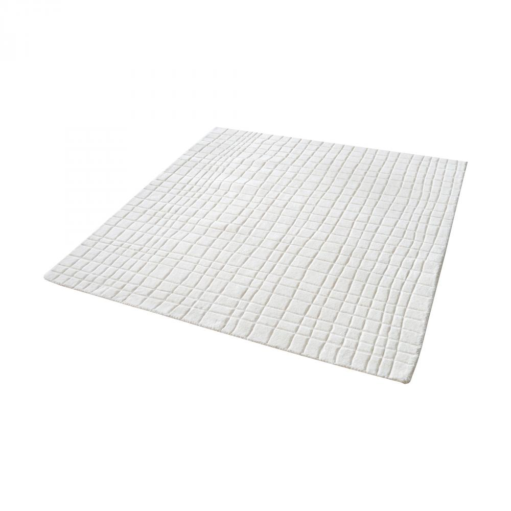 Blockhill Handwoven Wool Rug In Cream - 16-Inch