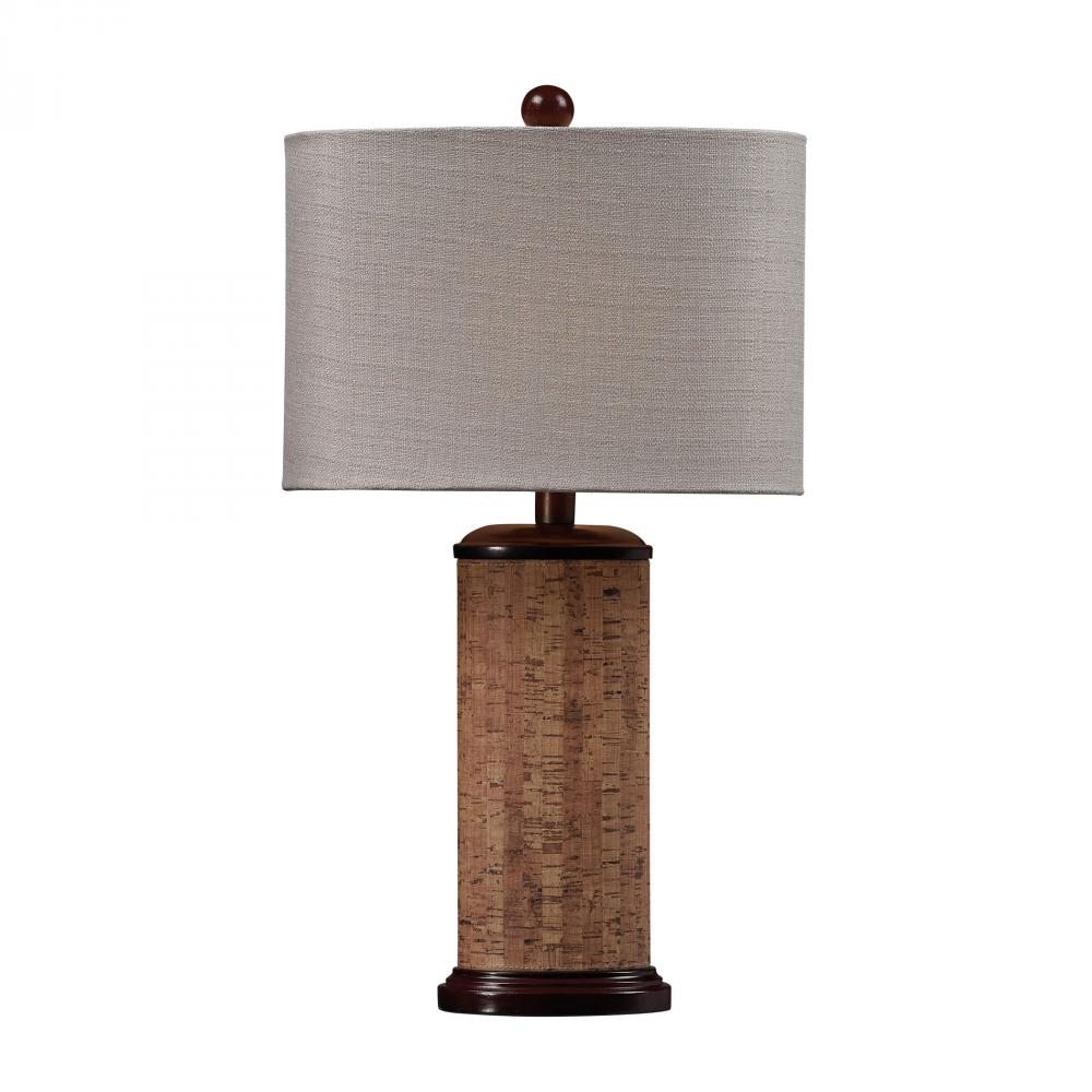 Cork Table Lamp in Brown With Light Beige Shade