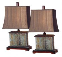 Uttermost 26333 - One Light Real Slate With Distressed Mahogany Details. Table Lamp