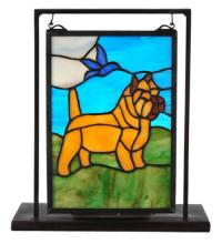 "Meyda Tiffany 112060 - 6""W X 9""H Cairn Terrier Lighted Mini Tabletop Window"