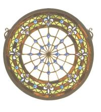 "Meyda Tiffany 19809 - 13""W X 13""H Fleur-De-Lis Medallion Stained Glass Window"