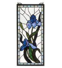 "Meyda Tiffany 36073 - 9""W X 20""H Iris Stained Glass Window"