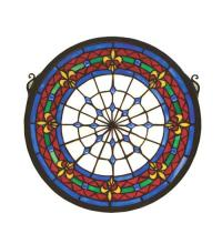 "Meyda Tiffany 51810 - 13""W X 13""H Fleur-De-Lis Medallion Stained Glass Window"