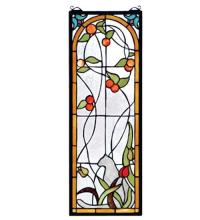 "Meyda Tiffany 67117 - 9""W X 25""H Cat & Tulips Stained Glass Window"