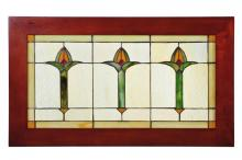 "Meyda Tiffany 97961 - 24""W X 14""H Arts & Crafts Bud Trio Wood Frame Stained Glass Window"