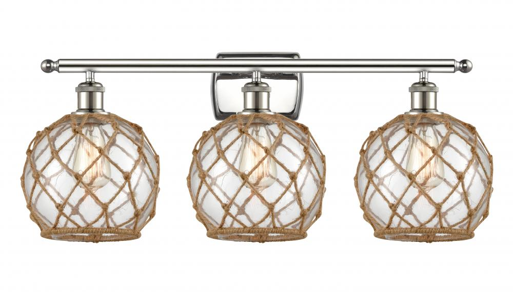 Farmhouse Rope 3 Light Bath Vanity Light 516 3w Pn G122 8rb Dekker Lighting