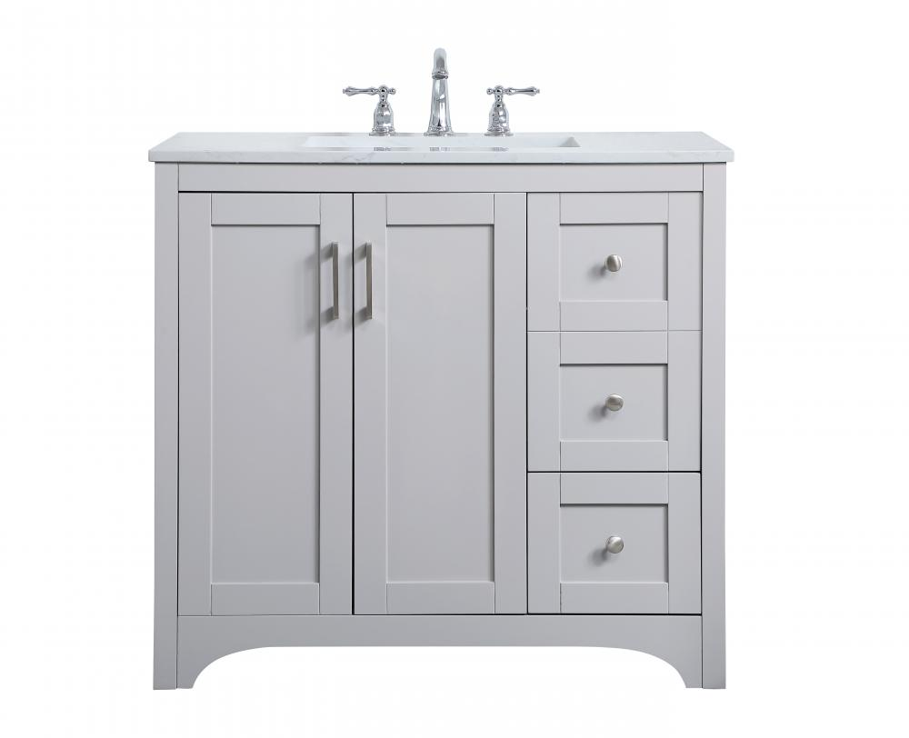 36 Inch Single Bathroom Vanity In Grey Vf17036gr Dekker Lighting