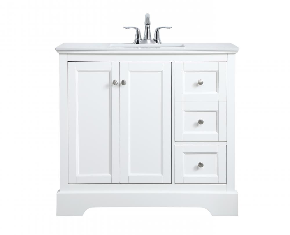 36 Inch Single Bathroom Vanity In White